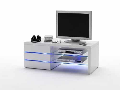 Robas Lund, Lowboard, Fernsehtisch, TV-Schrank, Sonia, Hochglanz/weiß, LED Effektbeleuchtung blau, 110 x 42 x 44 cm, 59057W11