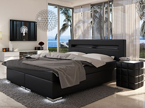 sam led boxspringbett 180x200 cm austin kunstleder schwarz bonellfederkern matratze h3. Black Bedroom Furniture Sets. Home Design Ideas