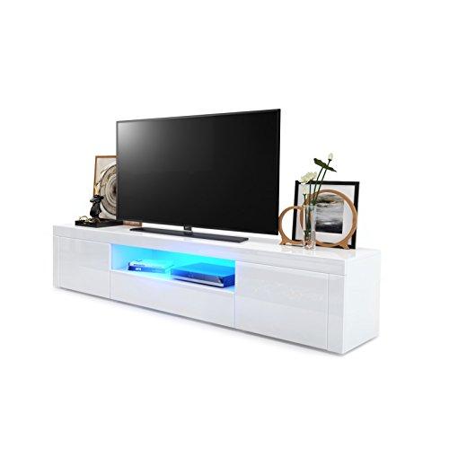 TV Board Lowboard Santiago, Korpus in Weiß Hochglanz / Fronten in Weiß Hochglanz und Weiß Hochglanz inkl. LED Beleuchtung