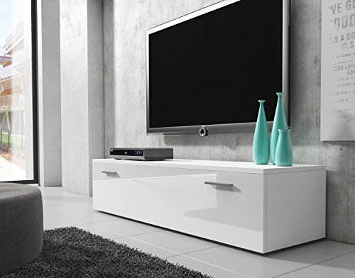 TV Möbel Lowboard Schrank Ständer Boston Korpus weiß/Front weiß Hochglanz 150 cm