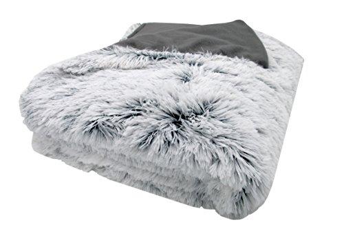 """ZOLLNER® Wendedecke / Kuscheldecke / Wohndecke / Wolldecke eine Seite in Felloptik die andere glatt, grau-weiß, in den Größen 150/200cm oder 220/240cm verfügbar, Serie """"Polar"""""""