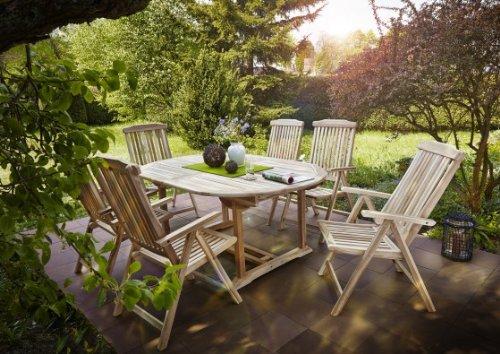 SAM® Gartengruppe, 7 teilig, Gartenmöbel aus Teak-Holz, 6 x Garten-Hochlehner, 1 x Auszieh-Tisch, Terrassen-Möbel aus Holz, Teakholz-Möbel, Massivholz-Möbel für Garten oder Terrasse [521418]