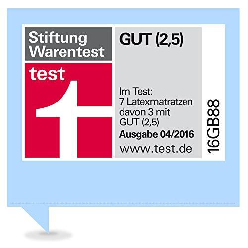 Ravensberger 7-Zonen NATUR Latexmatratze LATEXCO 85% Natur H3 RG 80 (80-120 kg) Baumwoll-DT 100x200 - Stiftung Warentest: GUT 04/2016