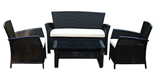 Gartenmöbel Geflechtset Bolero mit Sitzkissen, Stahlgestell, Kunststoffgeflecht, 7-teiliges Set bestehend aus 2x Sessel, 1x Bank, 2-Sitzer, 1x Couchtisch Brema 289