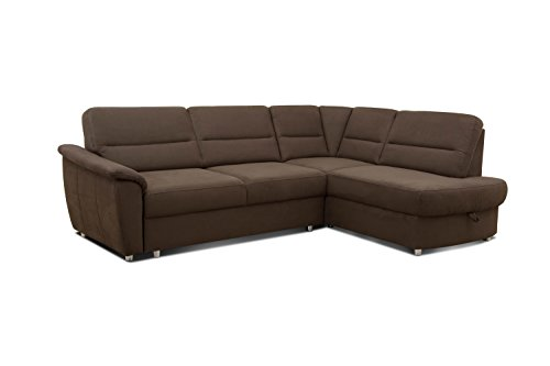 cavadore ecksofa makau federkern couch mit ottomane l sofa mit bettfunktion 252 x 88 x 181. Black Bedroom Furniture Sets. Home Design Ideas
