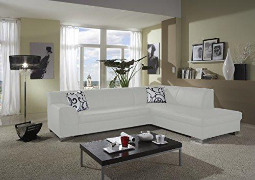 Dreams4Home Polstersofa, Ecksofa 'Sol', weiß, Kunstleder, Polstermöbel, Wohnzimmer, Sitzmöbel, Couch