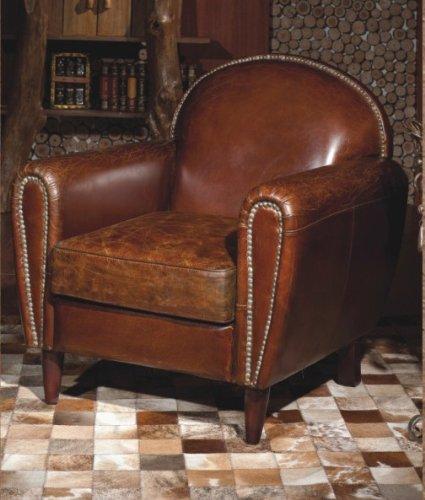 Phoenixarts Echtleder Vintage Sessel Ledersessel Braun Antik Design Lounge Clubsessel Sofa Möbel NEU 444