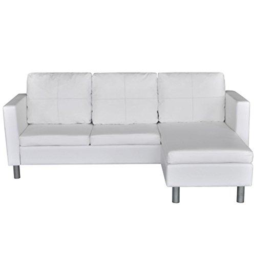 Festnight 3-Sitzer L-Form Schnittsofa Loungesofa Ecksofa Kunstleder-Schnittsofa L-förmiges Sofa mit 3 Kissen Weiß
