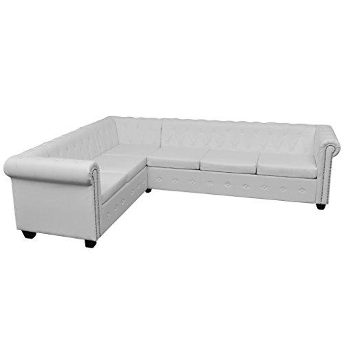 Festnight Chesterfield Ecksofa Sofa 6-Sitzer-Ecksofa Wohnzimmersofa Couch Loungesofa Kunstlederpolsterung 260 x 205 x 73 cm Weiß