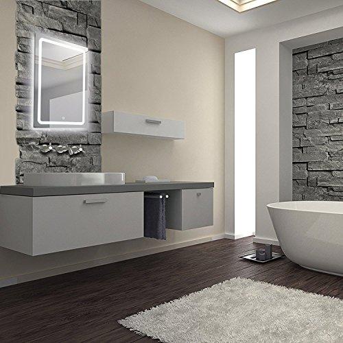 KROLLMANN 1510ft LED Badspiegel – 50 x 70 cm – mit Touch-Sensor zum Ein- und Ausschalten, Badezimmer Wandspiegel mit satinierten Lichtflächen Energieeffizienzklasse A+