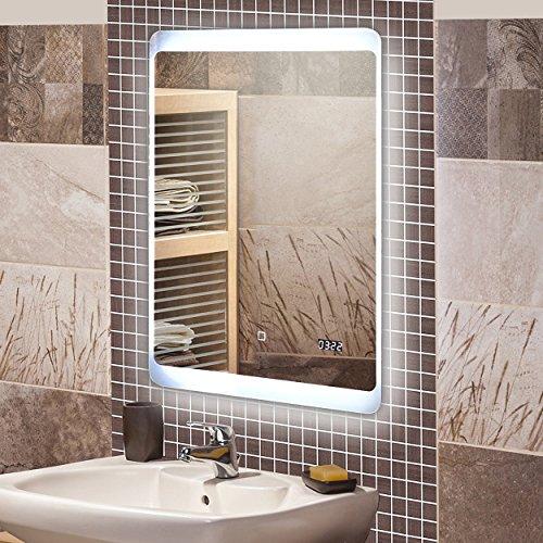 M bel24 krollmann badspiegel mit led beleuchtung badezimmer spiegel beleuchtet mit touch sensor - Badspiegel led touch ...