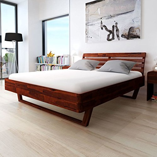 Festnight Holzbett Doppelbett Bett Bettgestell Gästebett aus Akazienholz ohne Matratze 180 x 200 cm