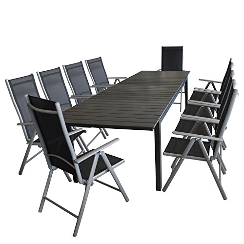 11tlg gartengarnitur aluminium ausziehtisch 280 220x95cm polywood tischplatte 10x alu. Black Bedroom Furniture Sets. Home Design Ideas