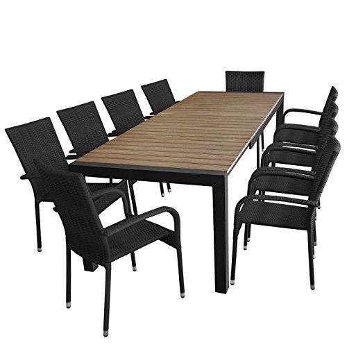 11tlg. Gartengarnitur - Gartentisch ausziehbar 205/275x100cm, Polywood Tischplatte in Braun + 10x Stapelstuhl,Polyrattanbespannung - schwarz / Sitzgarnitur Sitzgruppe Gartenmöbel Terrassenmöbel