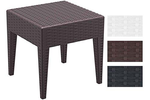 CLP Design-Gartentisch MIAMI aus Polyrattan | Beistelltisch aus hochwertigem Kunststoffgeflecht | Stapelbarer Tisch in Rattan-Optik mit einer Höhe von: 45 cm | In verschiedenen Farben und Größen erhältlich