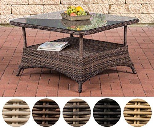 CLP Design Outdoor Lounge-Tisch PANDORA, Höhe 60 cm, Glas Tischplatte, 5 mm Rattan Geflecht, ALU Gestell, mit Stauraum, Ablage unter der Tischplatte