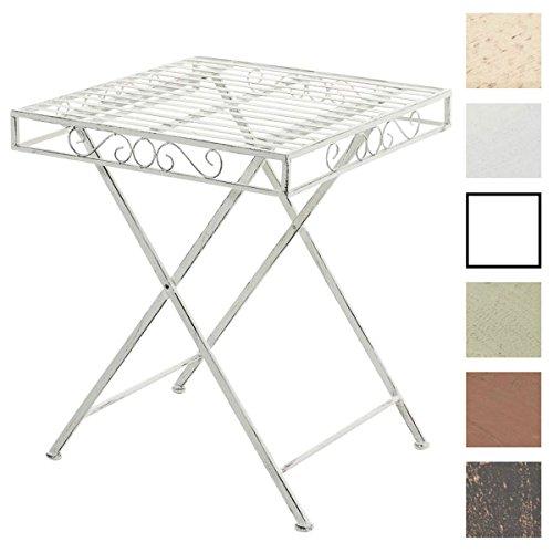 CLP Eisentisch FUNDA in nostalgischem Design | Robuster Gartentisch mit kunstvollen Verzierungen | Kompakter Tisch mit eckiger Tischplatte | In verschiedenen Farben erhältlich