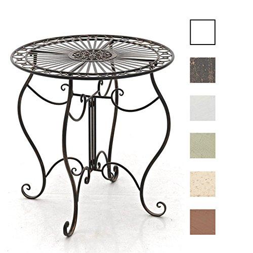 CLP Eisentisch INDRA in nostalgischem Design | Gartentisch mit geschwungenen Metallbeinen | In verschiedenen Farben erhältlich