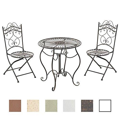 CLP Garten-Sitzgruppe INDRA aus Eisen | 2x Klappstuhl und 1x Tisch aus Eisen | Pflegeleichte Gartenmöbel im Jugendstil | In verschiedenen Farben erhältlich