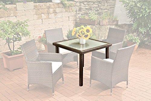 CLP Poly-Rattan Garten-Tisch RIO, 90 x 90 cm, Esstisch Höhe 75 cm, ALU-Gestell, Glasplatte 5 mm Sicherheitsglas, Platz für 4 Personen