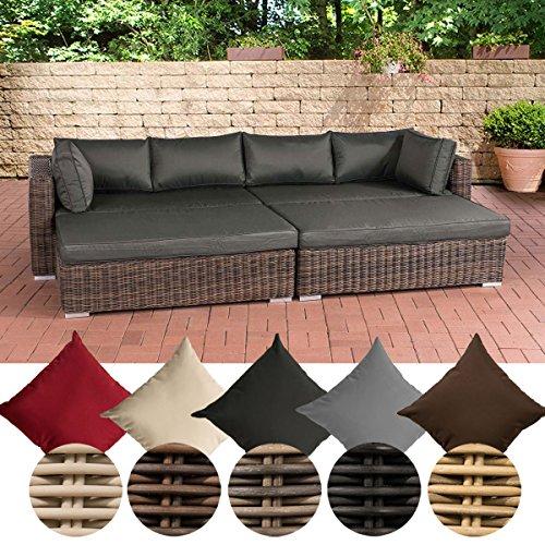 CLP Poly-Rattan Lounge Sofa / Bett TERRASSA, 4er Sofa + 2 große Hocker, ca. 280 x 165 x 60 cm, 10 cm dicken Polster