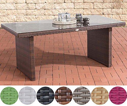 CLP Polyrattan-Gartentisch AVIGNON BIG mit einer Tischplatte aus Glas | Wetterbeständiger pflegeleichter Tisch | Esstisch für bis zu 6 Personen | In verschiedenen Farben erhältlich