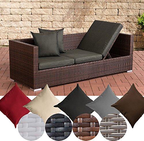 CLP Polyrattan-Loungesofa SOLANO mit höhenverstellbaren Seitenteilen | Sonnenliege aus Polyrattan mit robustem Untergestell aus Aluminium | In verschiedenen Farben erhältlich