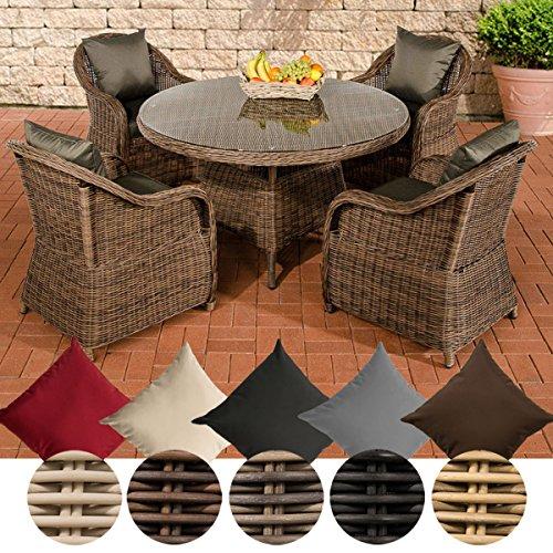 CLP Polyrattan-Sitzgruppe MOA inklusive Polsterauflagen | Garten-Set bestehend aus einem runden Esstisch mit einer pflegeleichten Tischplatte aus Glas und vier Sesseln | In verschiedenen Farben erhältlich