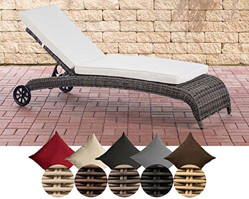 CLP Polyrattan-Sonnenliege ASTI | Wellnessliege mit Laufrollen | Sonnenliege mit verstellbarer Rückenlehne | In verschiedenen Farben erhältlich