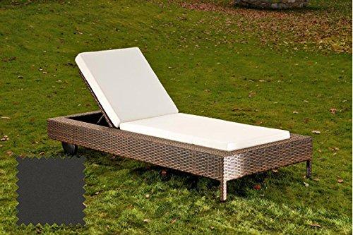 CLP Polyrattan Sonnenliege ROSSO mit Polsterauflage | Gartenliege mit verstellbarer Rückenlehne & Laufrollen | In verschiedenen Farben erhältlich