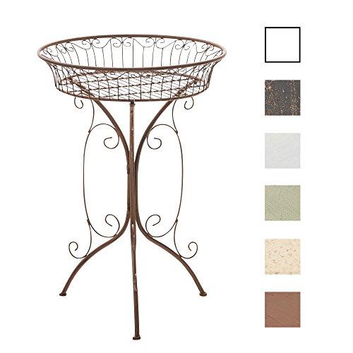 CLP Runder Eisentisch Margo in nostalgischem Design | Robuster Beistelltisch aus Eisen | Blumentisch mit kunstvollen Verzierungen | In verschiedenen Farben erhältlich