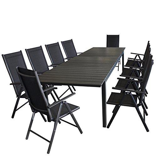 Multistore 2002 11tlg. Gartengarnitur Aluminium Gartentisch, ausziehbar, Tischplatte Polywood, 220/280x95cm + 10x Alu Hochlehner, Textilenbespannung, verstellbarer Rückenlehne