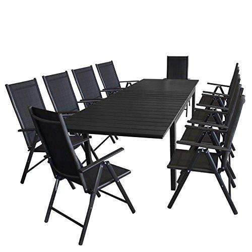 Multistore 2002 11tlg. Gartengarnitur Ausziehtisch, Aluminiumrahmen, Polywood-Tischplatte schwarz, 200/250/300x95cm + 10x Hochlehner, Aluminium, 2x2 Textilenbespannung, Rückenlehne 7-fach verstellbar