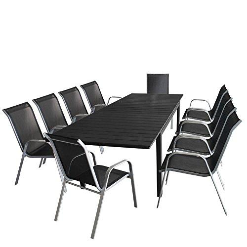 Multistore 2002 11tlg. Gartengarnitur Sitzgruppe Ausziehtisch Terrassenmöbel Gartenmöbel Set - Ausziehtisch, Polywood-Tischplatte schwarz, 200/250/300x95cm + 10x Stapelstuhl, Silbergrau/Schwarz