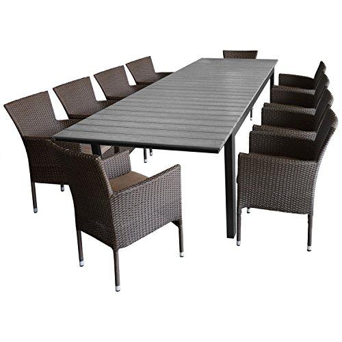 Multistore 2002 11tlg. Sitzgruppe Ausziehtisch Polywood-Tischplatte, silver-grey, 280/220x95cm + 10x Gartensessel Polyrattan braun-meliert, stapelbar, inkl. Kissen