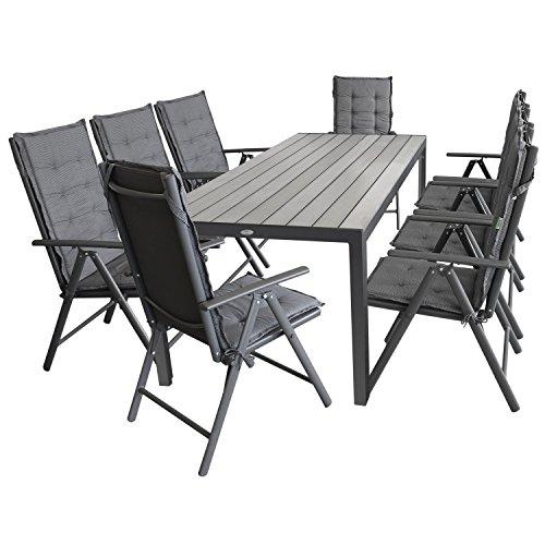 Multistore 2002 17tlg. Gartengarnitur Gartenmöbel Terrassenmöbel Set Sitzgarnitur Sitzgruppe Polywood 205x90cm grau + 8x Hochlehner, 2x2 Textilenbespannung, Lehne 7-fach verstellbar + 8x Stuhlauflage