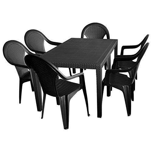 Multistore 2002 7tlg. Sitzgruppe Gartengarnitur Terrassenmöbel Gartenmöbel Campingmöbel Set - Gartentisch, 150x90cm + 6x Stapelstuhl, Rattan-Look - Kunststoff