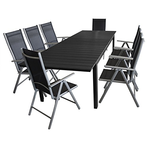 Multistore 2002 9tlg. Gartenmöbel Terrassenmöbel Set Gartengarnitur Sitzgruppe - Gartentisch, Polywood-Tischplatte schwarz, ausziehbar, 200/250/300x95cm + 8x Hochlehner, klappbar, 7-fach verstellbar
