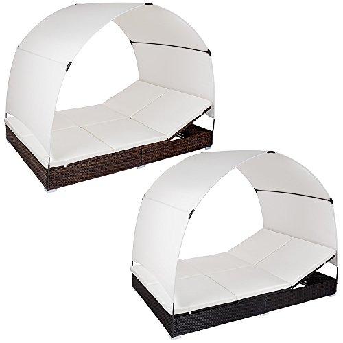 TecTake Alu Sonnenliege Poly Rattan Gartenliege Loungeliege Gartenlounge Doppelliege mit Dach 2 Personen - diverse Farben -