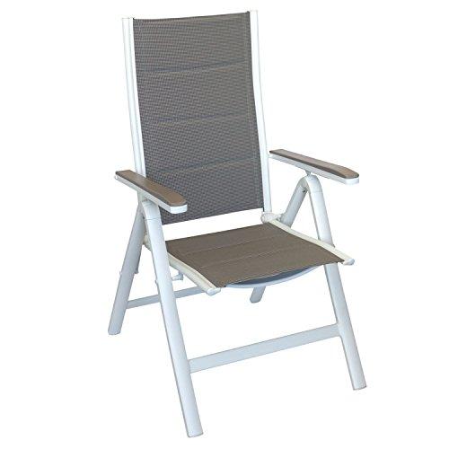 Wohaga® 6er Set Liegestuhl Gartenstuhl mit gepolsterter Textilenbespannung, Hochlehner mit Aluminiumgestell in Weiß, Lehne in 6 Positionen verstellbar, platzsparend klappbar