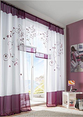 KOU-DECO Fenstervorhang hochwertige transparente Voile Kräuselband Gardinen mit Stickerei, 1er Pack (140x245cm, lila)
