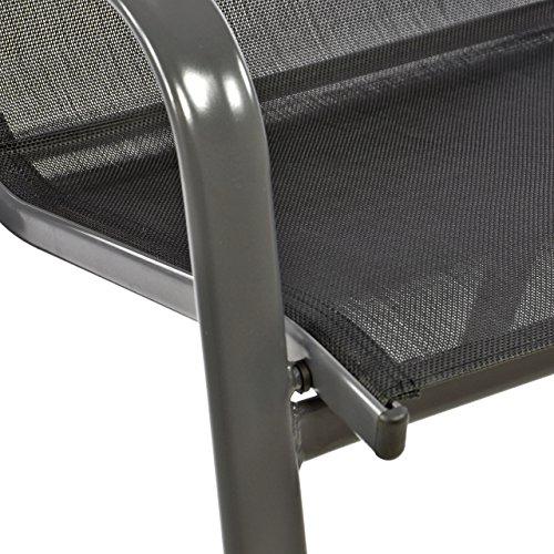 Nexos 4er Set Gartenstuhl Stapelstuhl Stapelsessel Hochlehner Terrassenstuhl – Textilene Stahlgestell – pflegeleicht robust stapelbar – Farbe: Rahmen schwarz/Bespannung schwarz