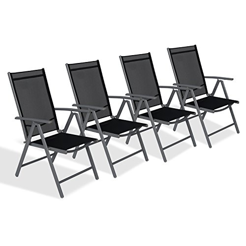 cclife alu klappstuhl klappst hle gartenstuhl aluminium campingstuhl hochlehner mit armlehne 7. Black Bedroom Furniture Sets. Home Design Ideas
