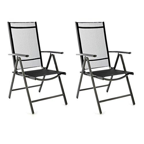 SONLEX 2er Set Klappstuhl Klappsessel Gartenstuhl Campingstuhl Liegestuhl – Sitzmöbel – klappbarer Stuhl aus Aluminium & Kunststoff - schwarz (Textilene)/anthrazit (Rahmen)
