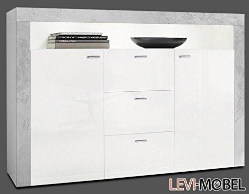 levi moebel sideboard wohnzimmer flur schrank wei hochglanz beton optik matt neu 867335 m bel24. Black Bedroom Furniture Sets. Home Design Ideas