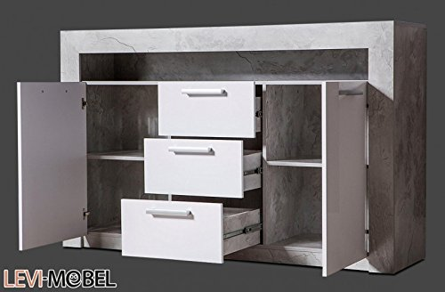levi moebel sideboard wohnzimmer wohnwand anbauwand beton optik wei hochglanz neu 200602. Black Bedroom Furniture Sets. Home Design Ideas