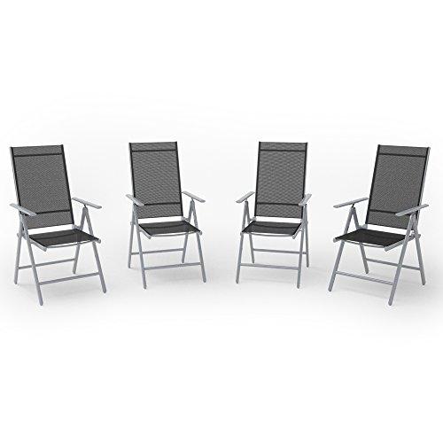 4er Set Alu Gartenstuhl Klappstuhl Hochlehner Campingstuhl Aluminium Liegestuhl