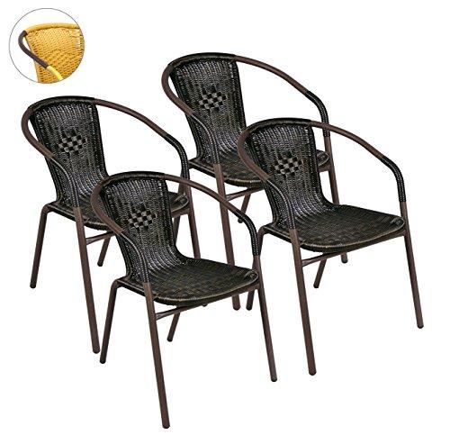 Nexos 4er Set Bistrostuhl Stapelstuhl Balkonstuhl Poly Rattan Gartenstuhl Terrasse Stuhl braun
