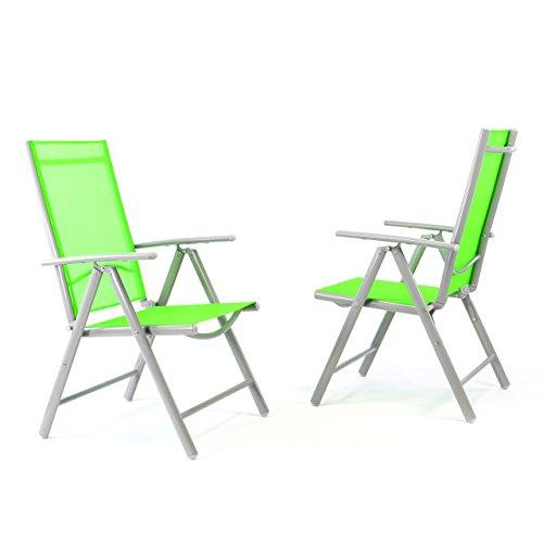 Nexos 2er Set Klappstuhl Gartenstuhl Campingstuhl Liegestuhl in Komfortbreite – Sitzmöbel Garten Terrasse Balkon – klappbarer Stuhl aus Aluminium & Kunststoff - grün