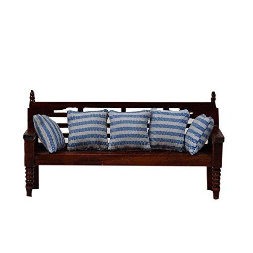 Blue Vessel Puppenstube Langes Sofa 5 Kissen 1/12 Puppenhaus Mini Wohnzimmer Dekoration Dollhouse Sofa Chair with Cushion
